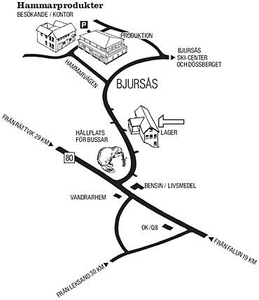 Karta till Hammarprodukter